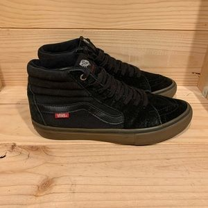 Vans Off The Wall Black High Tops Skateboard Shoes